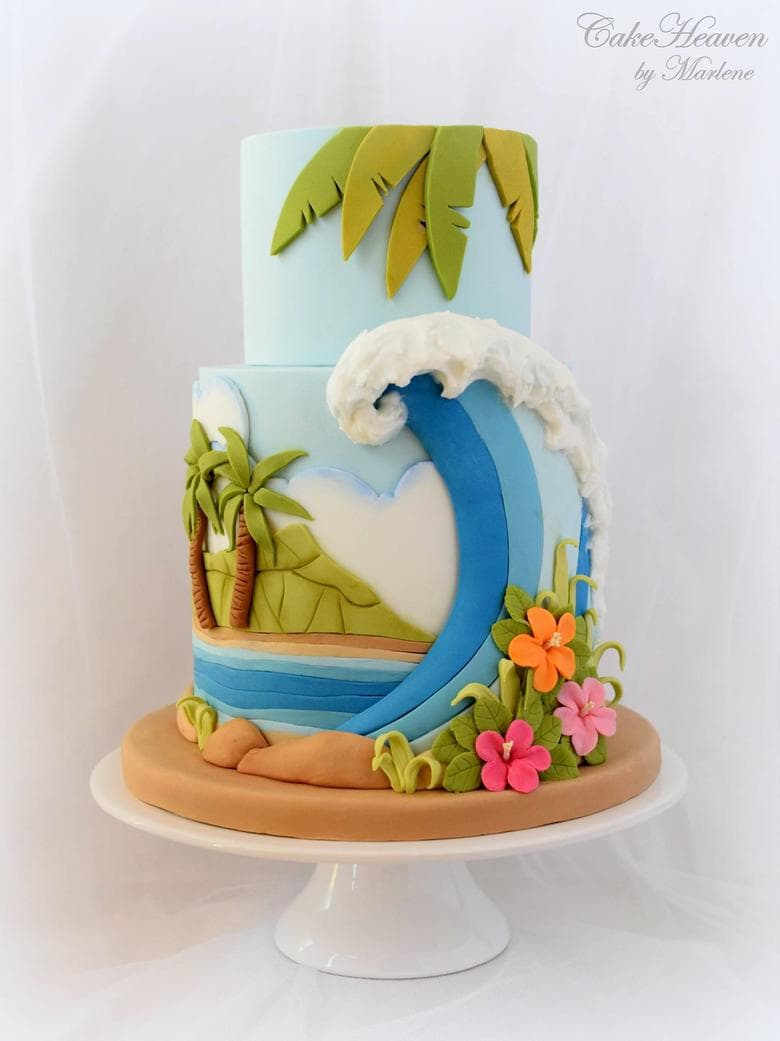 Colorful Beach Cake by CakeHeaven by Marlene! (As featured on MyCakeSchool.com's roundup of Summer Cakes!)