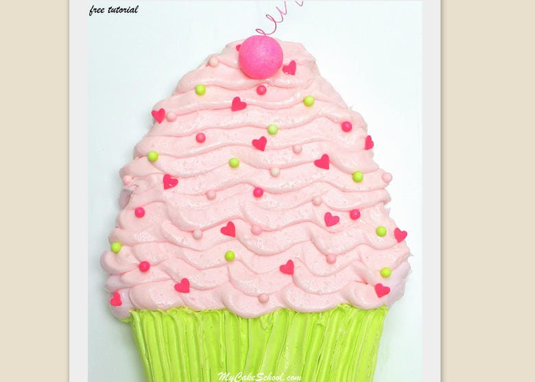 Free Tutorial for an Easy Cupcake Sheet Cake Design by MyCakeSchool.com! Perfect for children's birthdays!
