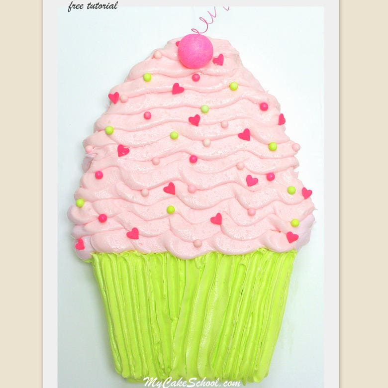 Free Cupcake Sheet Cake Tutorial by MyCakeSchool.com! SO simple and fun!
