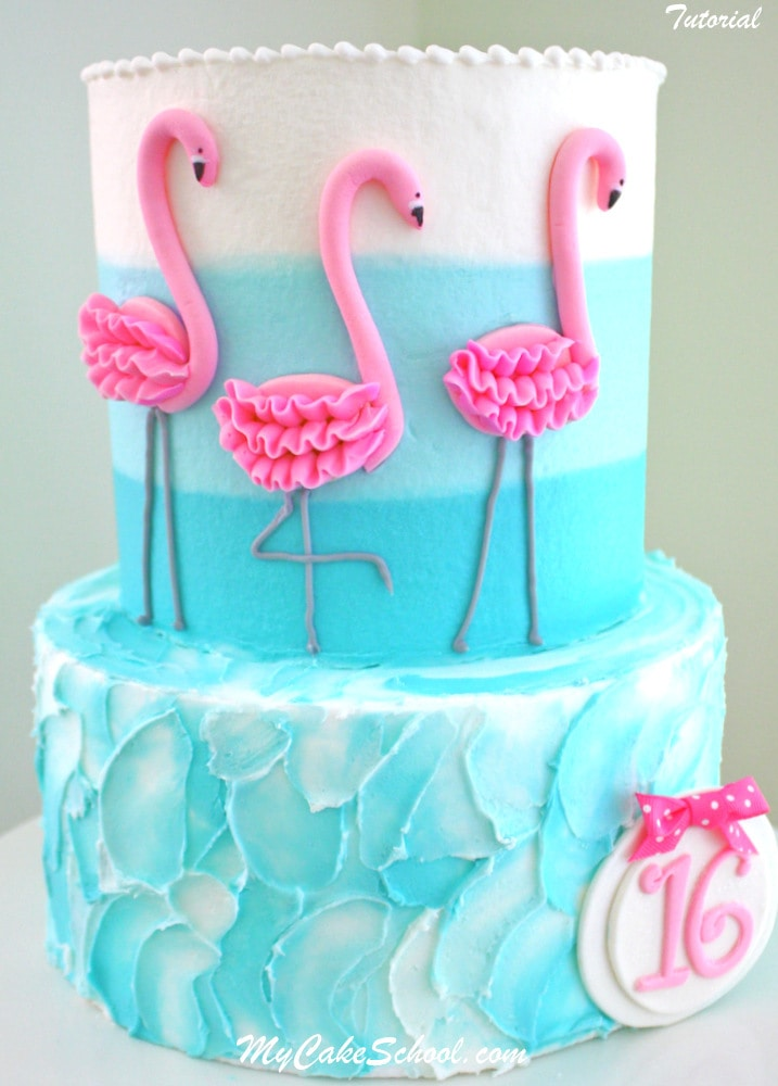 Beautiful Flamingo Cake Tutorial by MyCakeSchool.com! Member Cake Video Section!