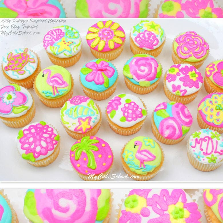 Free Tutorial by Lilly Pulitzer Cupcakes! So cheerful and perfect for summer!
