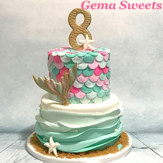 Mermaid Cake by Gema Sweets (featured on MyCakeSchool.com's Summer Cake Roundup)
