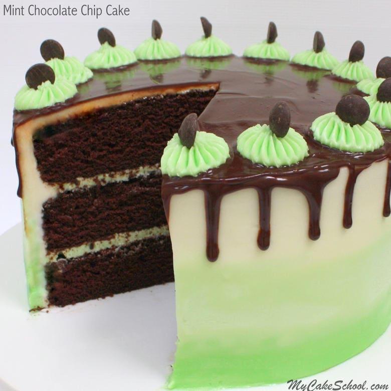 Decadent Mint Chocolate Chip Cake Recipe from Scratch by MyCakeSchool.com! Online cake tutorials, cake recipes, and more!