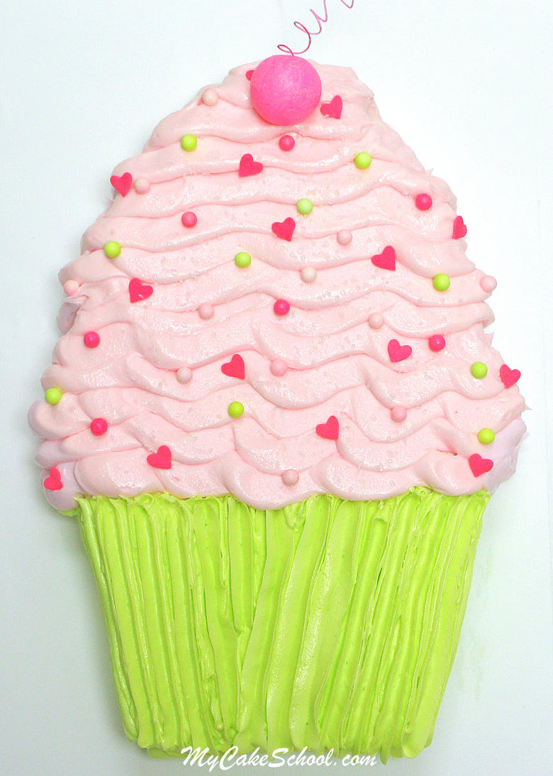 Adorable Cupcake Sheet Cake Tutorial by MyCakeSchool.com! Online cake tutorials, cake recipes, and more!