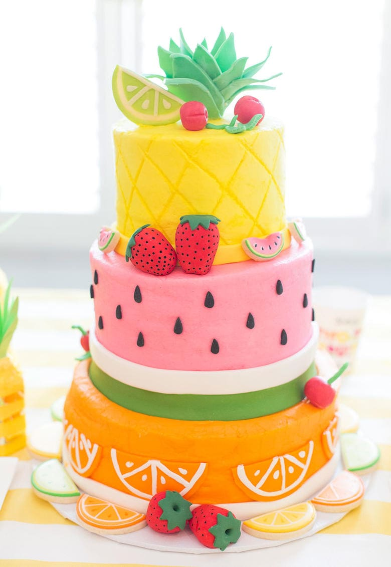 CUTE Fruit Themed Birthday Cake via Pizzazzerie as featured on My Cake School's Summertime Roundup!