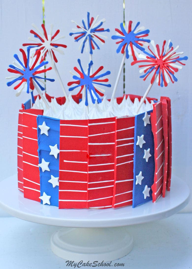 July 4th Chocolate Panels and Fireworks Cake! Free Video by MyCakeSchool.com
