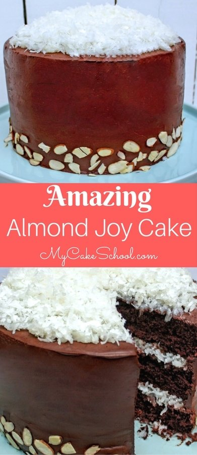 The BEST Scratch Almond Joy Cake Recipe by MyCakeSchool.com! This chocolate cake is so moist and decadent!