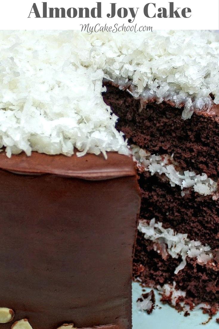 AMAZING Almond Joy Cake Recipe by MyCakeSchool.com! Rich Chocolate Cake Layers with Coconut Filling, Ganache, and Almonds! MyCakeSchool.com.