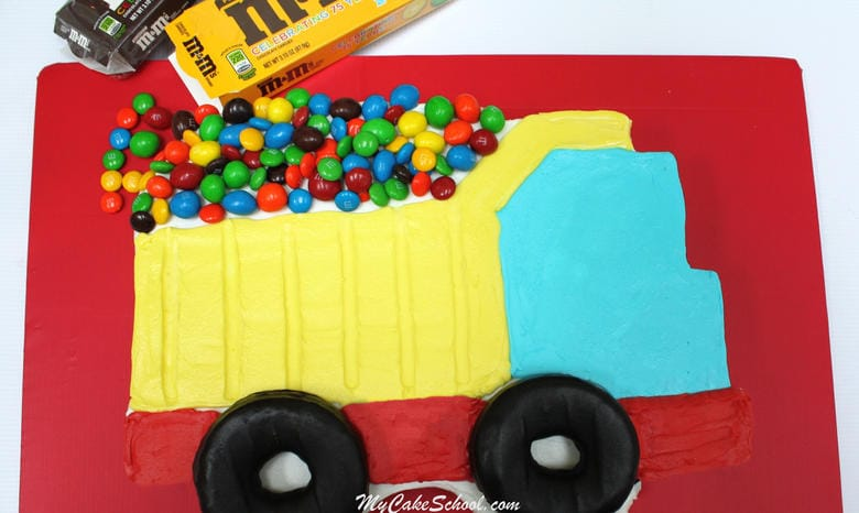 Adorable Dump Truck Sheet Cake Tutorial by My Cake School!