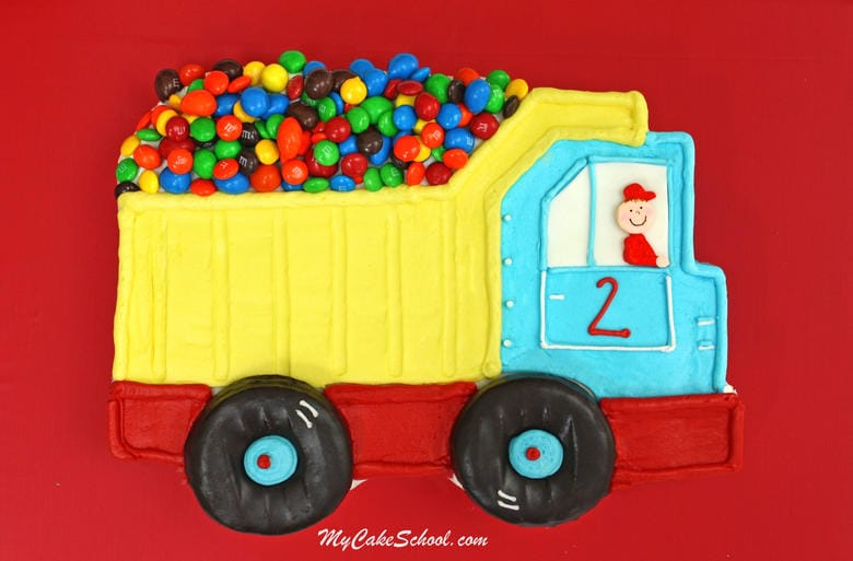 Free Dump Truck Cake Tutorial by MyCakeSchool.com! Online cake tutorials, cake recipes, and more!
