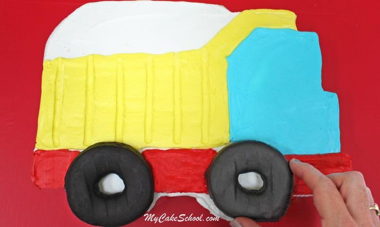 Free Dump Truck Sheet Cake Tutorial by MyCakeSchool.com! Perfect for young birthdays!