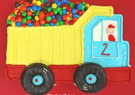 Easy Dump Truck Sheet Cake Tutorial by MyCakeSchool.com! Perfect for children's birthday parties! My Cake School Online Cake Tutorials, Cake Recipes, and More!