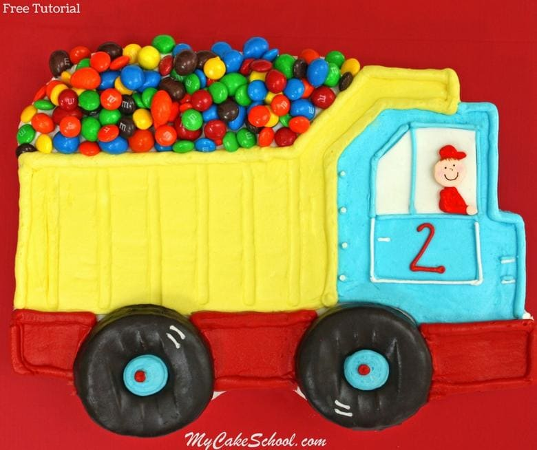 Free Tutorial! Easy Dump Truck Sheet Cake Tutorial by My Cake School! Adorable for young birthday parties!