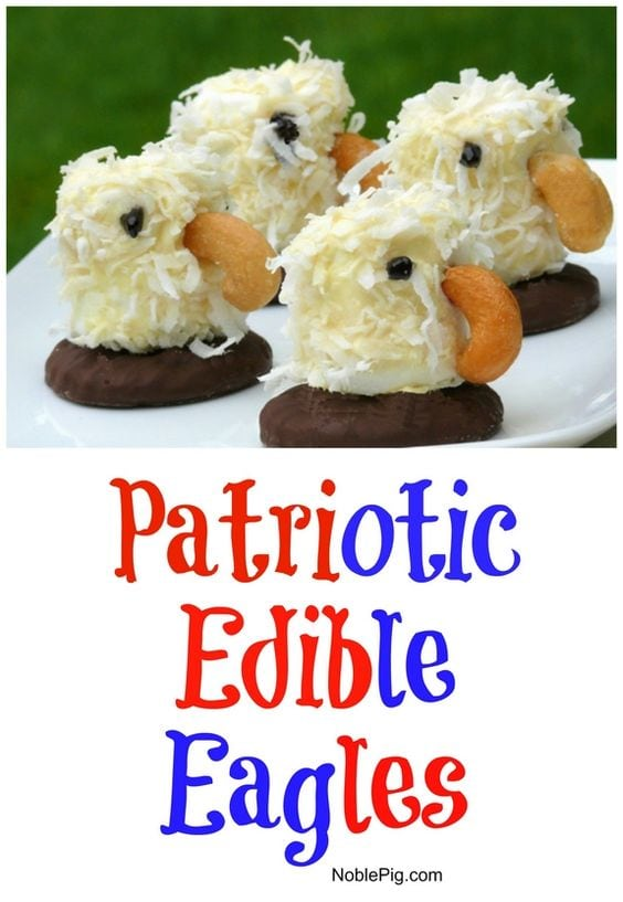 CUTE and simple Edible Eagles by NoblePig.com, as featured on My Cake School's July 4th Roundup!