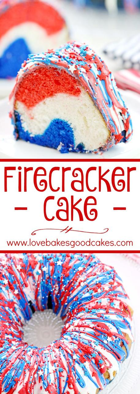 Firecracker Cake for July 4th from Love Bakes Good Cakes! Part of MyCakeSchool.com's Patriotic Cake Roundup!