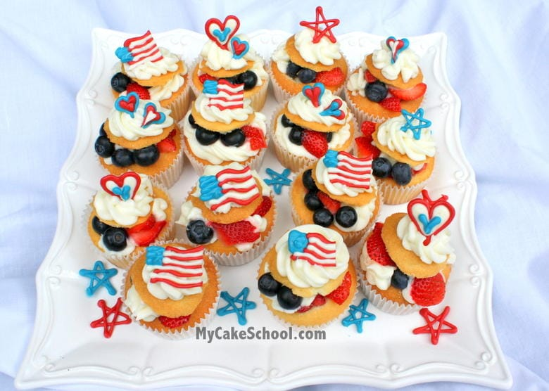CUTE Fourth of July Cupcakes with fruit and candy coating cupcake toppers! MyCakeSchool.com!