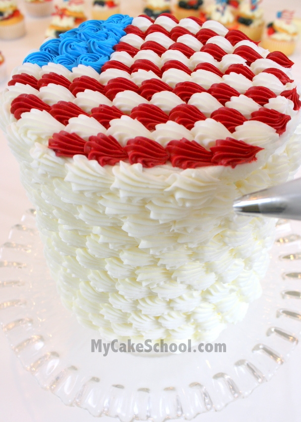 Free Cake Tutorial for a Patriotic Flag Cake with Buttercream Shells! MyCakeSchool.com