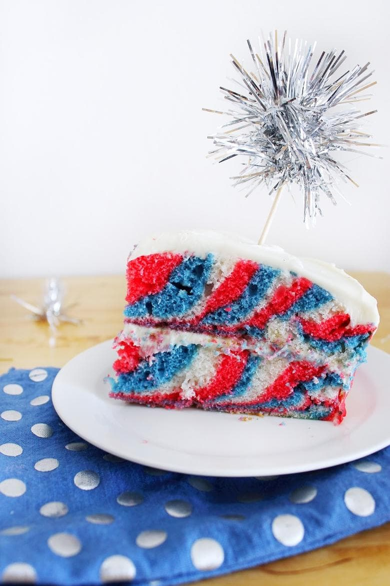 Juy 4th Tie Dye Patriotic Cake by Beauty and the Beard as featured on MyCakeSchool.com's July 4th Roundup!