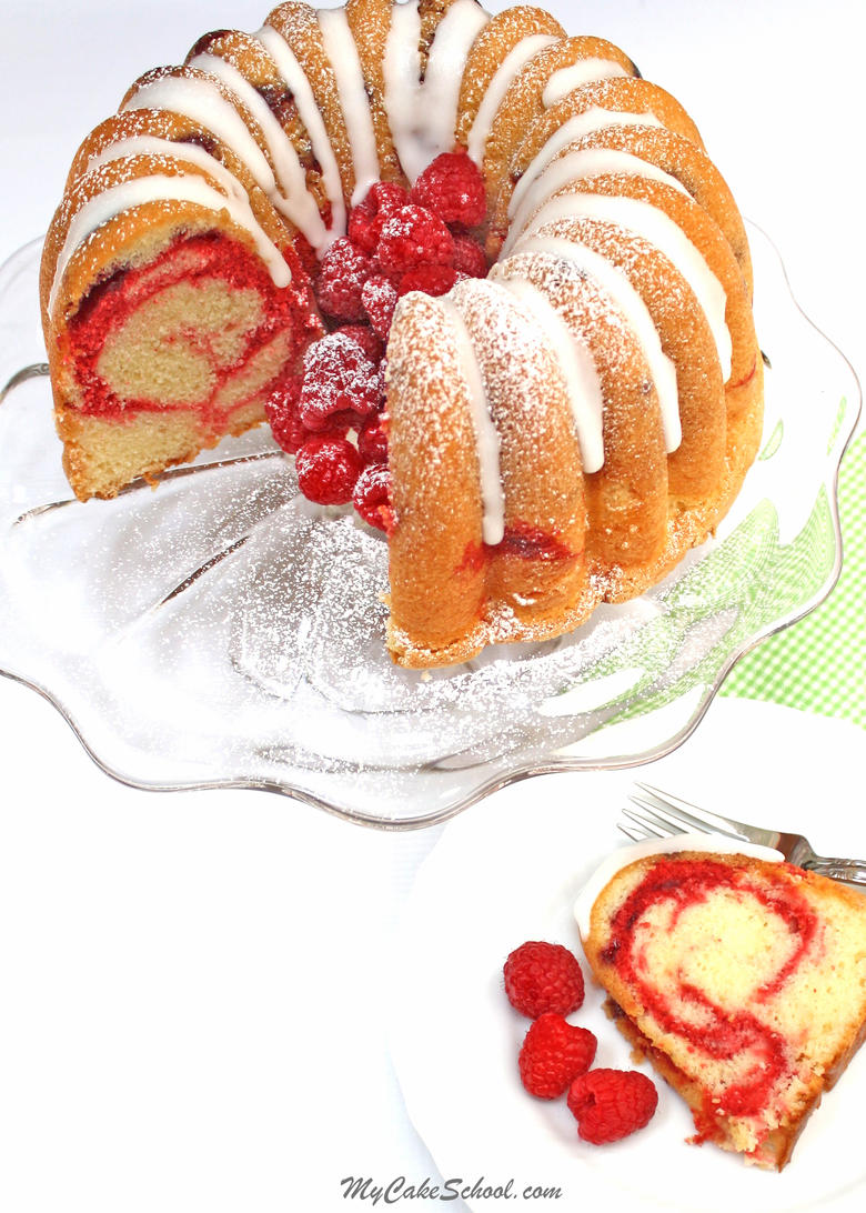 The BEST Lemon Raspberry Swirl Pound Cake Recipe by My Cake School! Ultra moist and delicious!