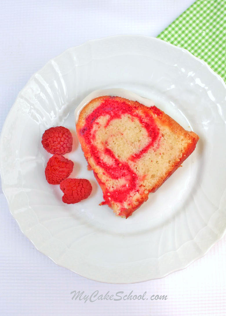The BEST Lemon Raspberry Pound Cake Recipe by MyCakeSchool.com! SO moist and flavorful!