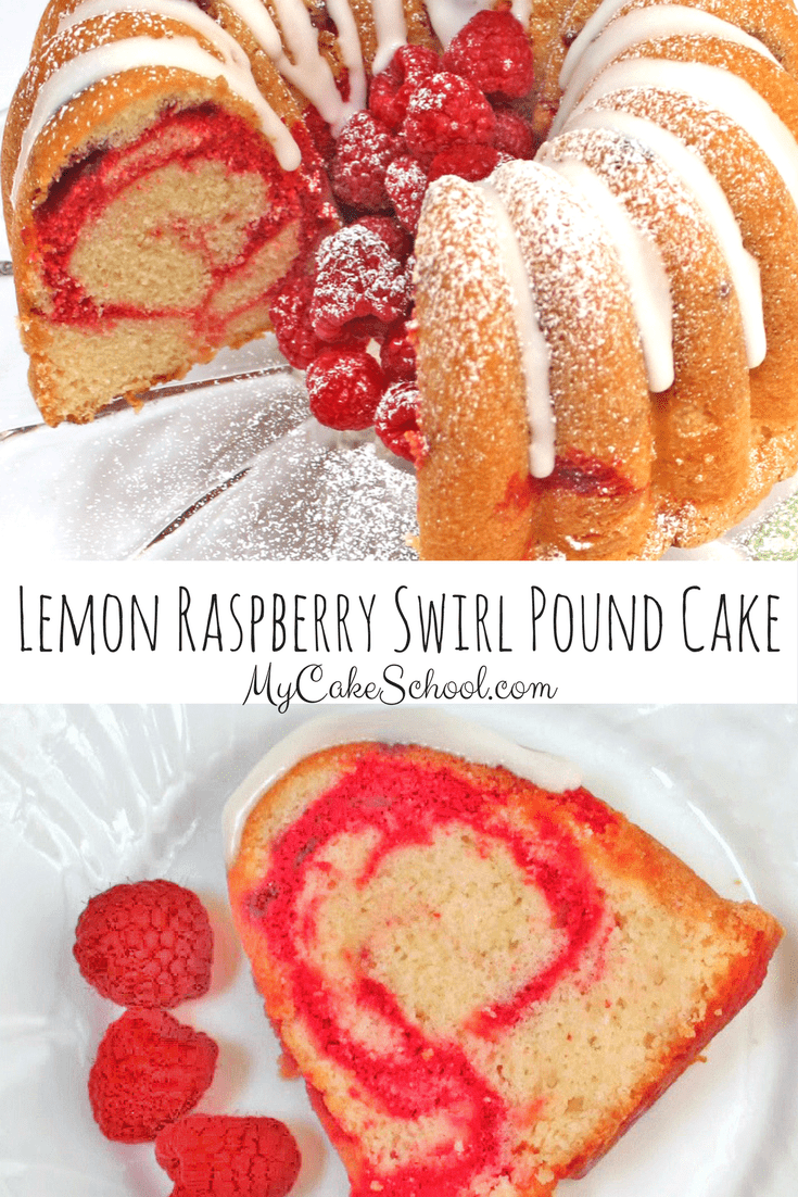 The BEST Lemon Raspberry Swirl Pound Cake Recipe by MyCakeSchool.com! Moist, Delicious, and so simple to make! My Cake School Online Cake Tutorials, Cake Recipes, and more!