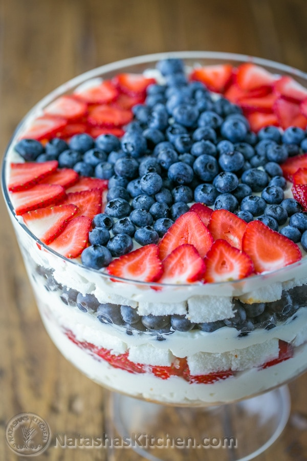 No-Bake Berry Trifle by Natasha's Kitchen as featured on MyCakeSchool.com's July 4th Roundup! Perfect for patriotic celebrations!