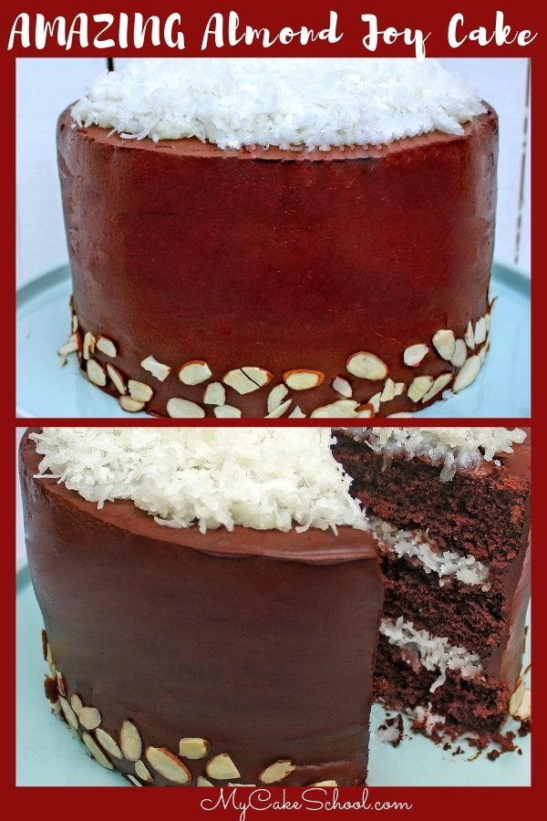 Best Almond Joy Cake Recipe! Decadent chocolate cake layers with a thick coconut filling and ganache frosting!