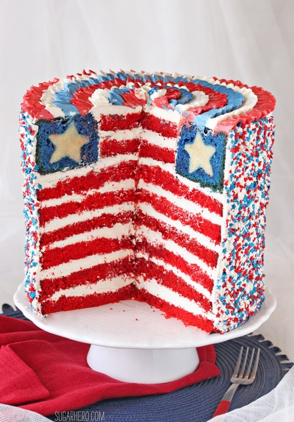 American Flag Layer Cake by Sugarhero! Featured on My Cake School's July 4th Cake Roundup!