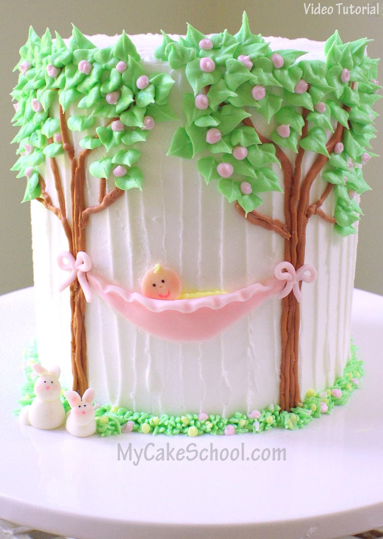 Adorable Baby in a Hammock-Baby Shower Cake! Video tutorial by MyCakeSchool.com (Member Cake Video Section)