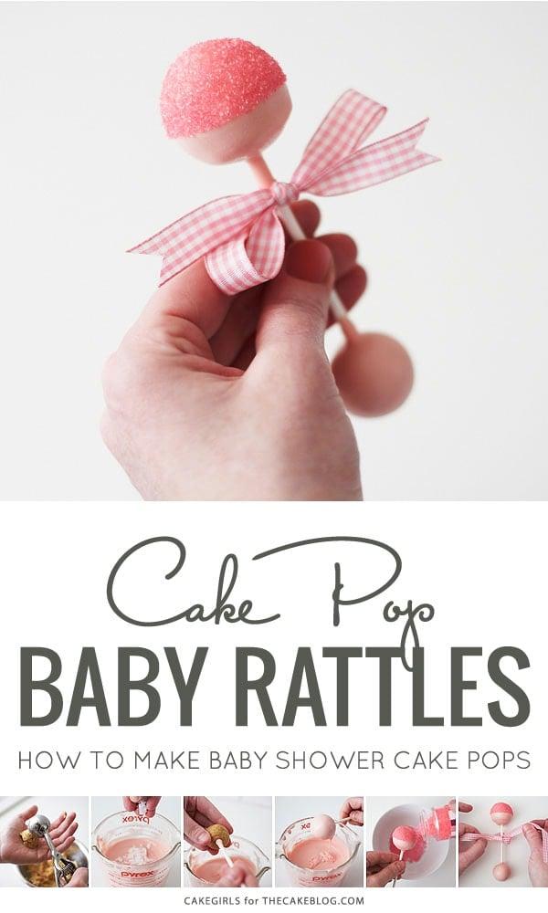 Baby Rattle Cake Pop Tutorial (via The Cake Blog) as featured on MyCakeSchool.com's Baby Shower Cake Roundup!
