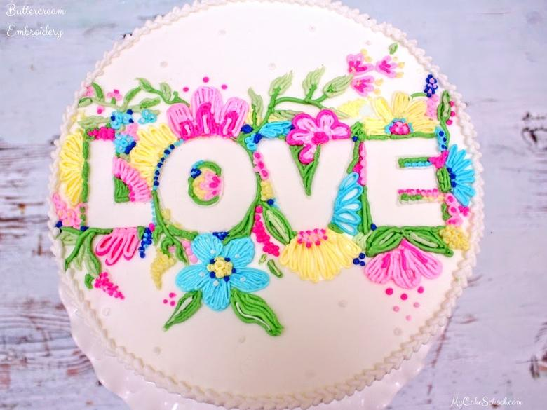 Buttercream Embroidery Cake Video Tutorial by MyCakeSchool.com! You'll love this elegant technique! MyCakeSchool.com Member Cake Video Section!