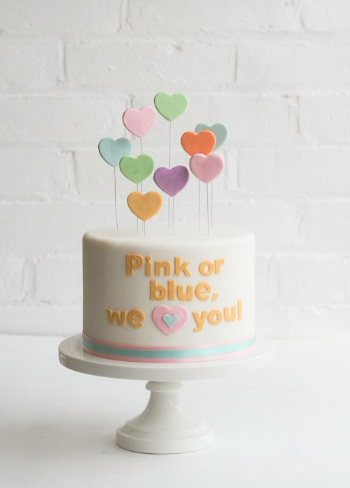 Sweet Gender Reveal Cake Idea by Erica Obrien Cake Design!