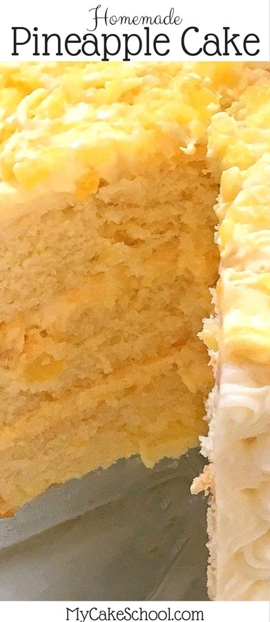 Delicious Pineapple Cake Recipe by MyCakeSchool.com! Moist yellow cake layers with a luscious pineapple and cream filling, and cream cheese frosting!