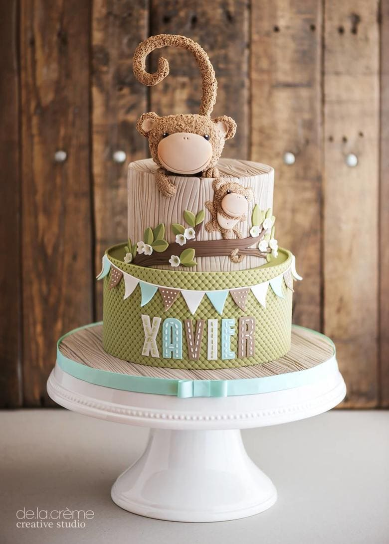 Roundup of Baby Shower Cake Ideas! Love this Monkey Cake from De La Creme Studio!