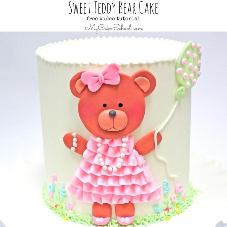 Free Cake Video Tutorial for a Sweet Teddy Bear Cake! Adorable design for baby showers and young birthdays- perfect for all skill levels of cake decorating!