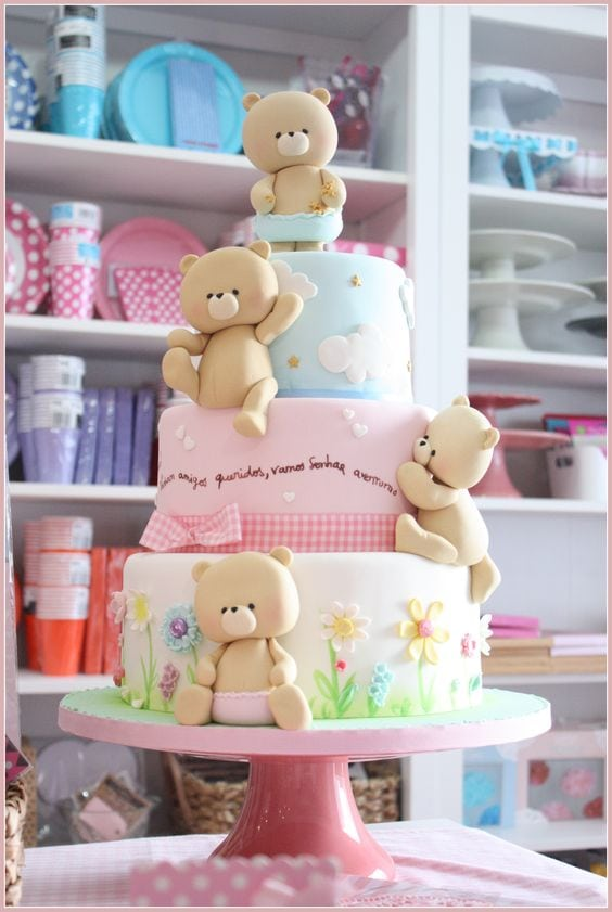 Precious teddy bear cake as featured on My Cake School's Roundup of the BEST baby shower cakes and inspiration!