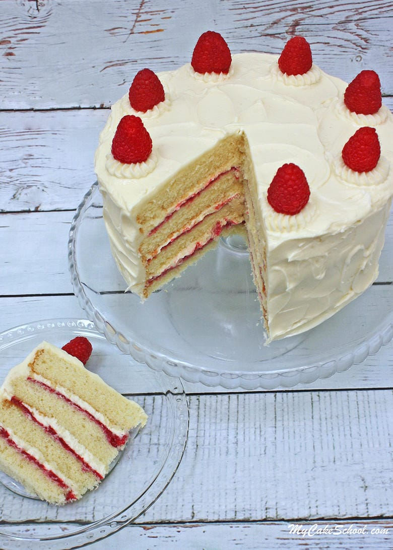 White Chocolate Raspberry Cake Recipe from Scratch! So moist, delicious, and perfect for so many special occasions!