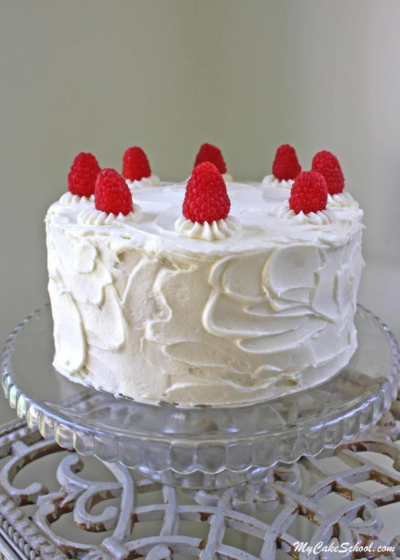 The BEST White Chocolate Raspberry Cake Recipe by MyCakeSchool.com!