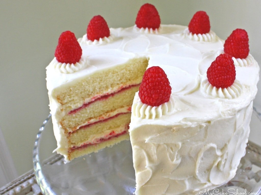 This White Chocolate Raspberry Cake Recipe from Scratch by MyCakeSchool.com!