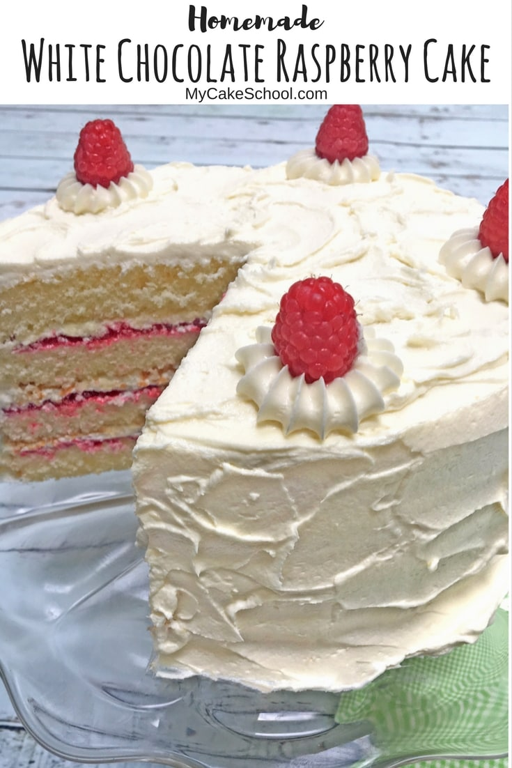 Moist and Delicious Homemade White Chocolate Raspberry Cake Recipe by MyCakeSchool.com!