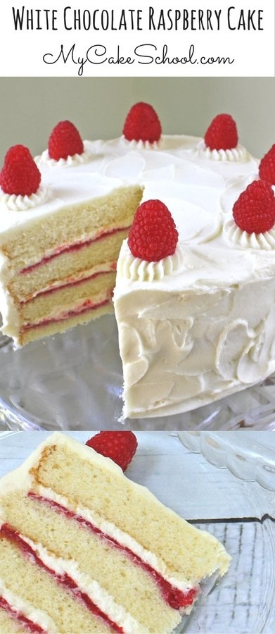 This Homemade White Chocolate Raspberry Cake is the BEST! Ultra moist and flavorful with white chocolate cake layers, raspberry filling, and white chocolate buttercream frosting! MyCakeSchool.com