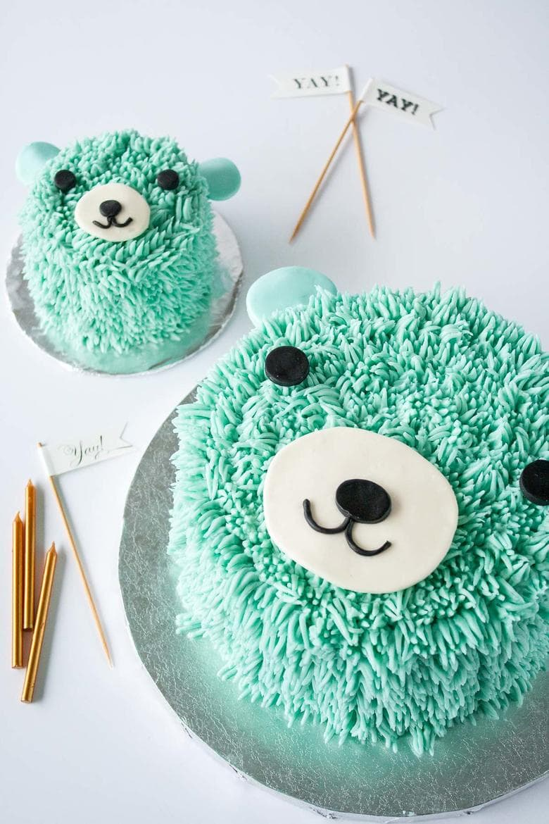 Blue Bear Birthday Cake by Liv for Cake as featured on MyCakeSchool.com's roundup of Baby Shower Cake ideas!