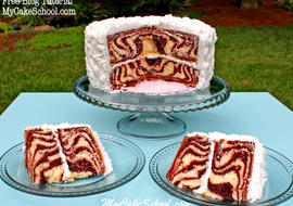 Learn to make a zebra print cake (pattern on the inside) in this free cake decorating tutorial by MyCakeSchool.com! Online cake tutorials, cake recipes, and more!