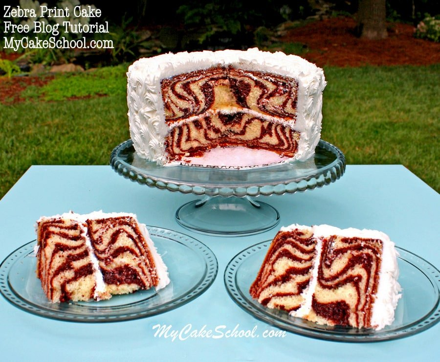 Learn How to Make a Cake with Zebra Stripes Inside My Cake School