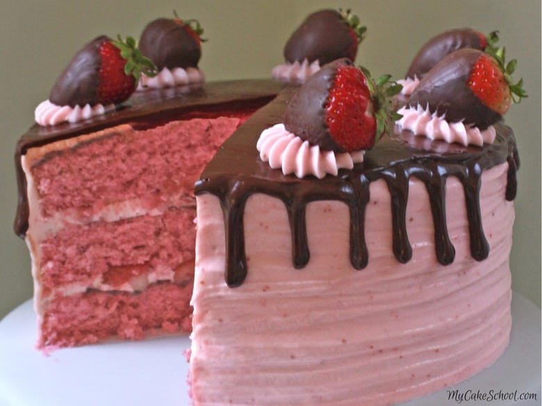 Moist and Delicious Chocolate Covered Strawberry Cake Recipe by MyCakeSchool.com! Homemade strawberry cake layers with ganache and strawberry buttercream!