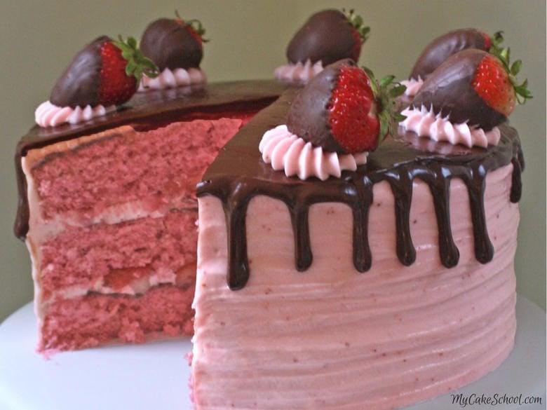 Moist and Delicious Chocolate Covered Strawberry Cake Recipe by MyCakeSchool.com! Homemade strawberry cake layers with ganache and strawberry buttercream!