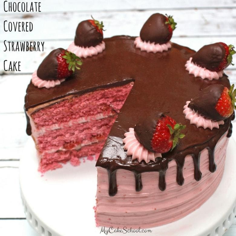 Homemade Chocolate Covered Strawberry Cake Recipe by MyCakeSchool.com! Delicious strawberry cake layers with rich ganache and strawberry buttercream!