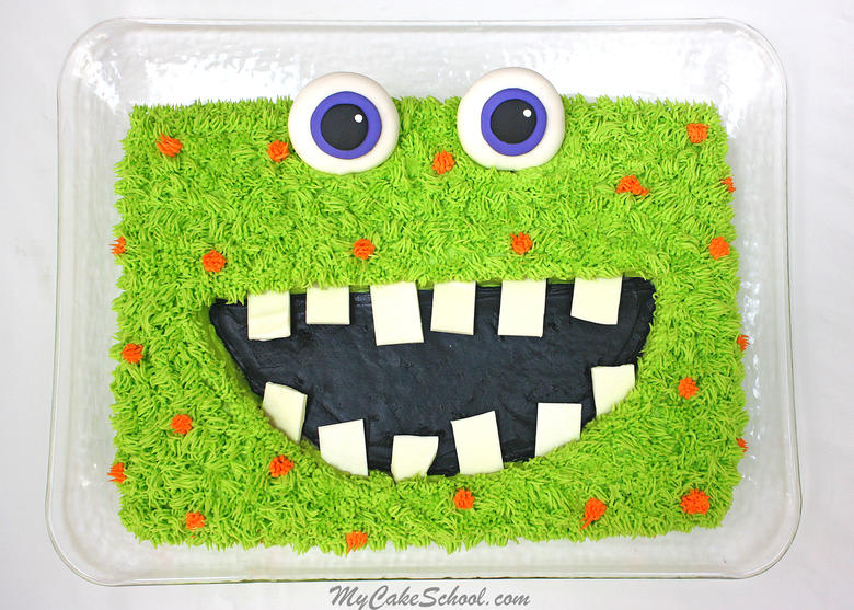 Free Monster Sheet Cake Tutorial by MyCakeSchool.com! So fun, and perfect for Halloween parties and Kids' Birthdays!