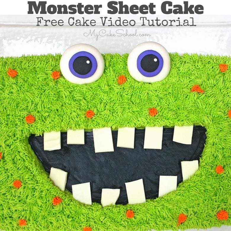 Free Monster Cake Video Tutorial! So simple & fun, perfect for kids' birthdays and Halloween parties!