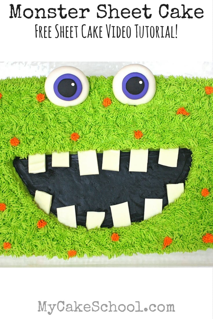 Free Monster Cake Video Tutorial by MyCakeSchool.com! Perfect for Kids' Birthdays and Halloween Parties!